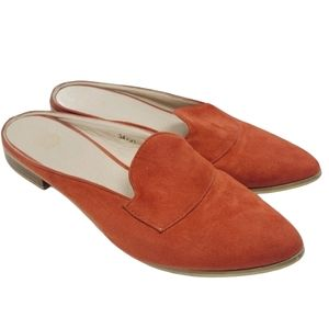 Rust Orange Pointy Toe Suede Leather Mule Flats
